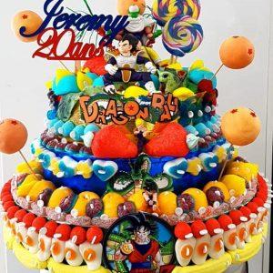 Gâteau d'anniversaire bonbons Dragon Ball Z
